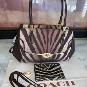 Coach zebra satchel bag & Coach wallet